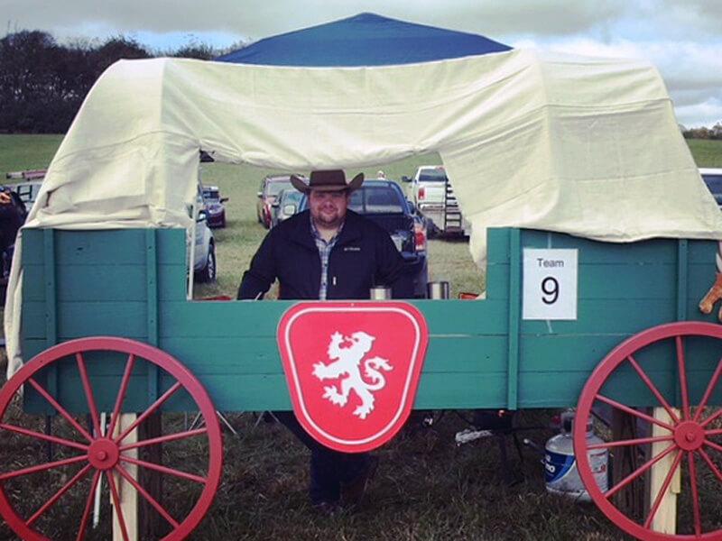 Thomas was serving up Caledonian Chuck Wagon Chili at the Kiwanis Chili Cook Off.